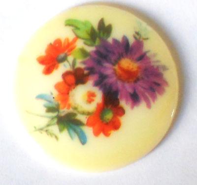 #1384 Vintage Cabochon floral Bouquet Flowers Limoges Style 35mm Cab NOS Glass