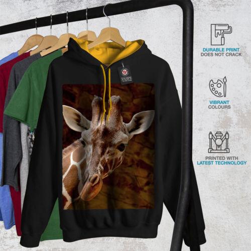 africana Casual Maglione Wellcoda Giraffa Faccia Look Da Uomo Felpa con cappuccio a contrasto