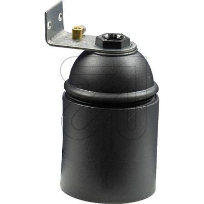 5 Stück Iso Fassung E27 mit Glattmantel Metallwinkel schwarz