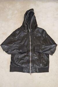 Mens intera pelle cappuccio giacca nera di cerniera con M di Medium Cappotto Saints con da All Wgqwn8qOp