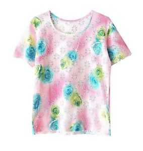Ladies-Pink-Floral-Lace-Casual-Short-Sleeve-Summer-Holiday-Top-T-shirt-M-12-14