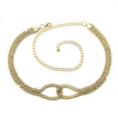 Gold Diamante/Diamond Ladies Waist Chain/Charm Belt - One Size Fits All - 280