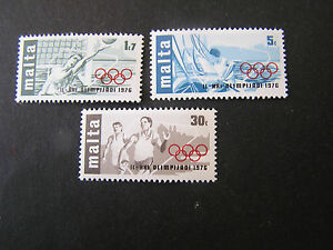 MALTA, SCOTT # 509-511(3), COMPLETE SET 1976 OLYMPIC GAMES MONTREAL ISSUE MNH