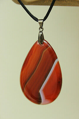 110.50 Cts. Natural Striped Agate Pendant Gemstone Pear Shape Brown White Color 56x36x6 mm