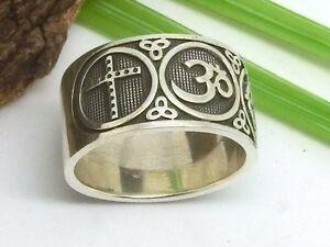 Massiver-Bandring-925-Silber-Ring-mit-Symbolen-Kreuz-Mond-Om-Yin-Yang-Davidstern