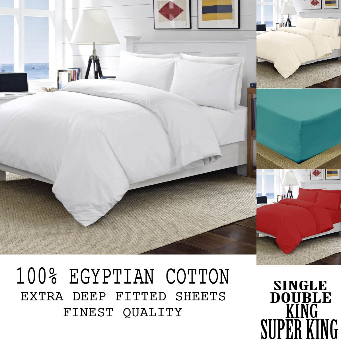 100% Egyptian Cotton Best Quality Fitted Bed Sheets 40CM