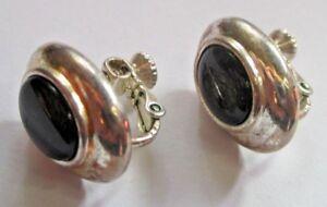 Boucles D'oreilles Argenté Clips Et Vis Bijou Vintage Napier Cabochon Noir 2477