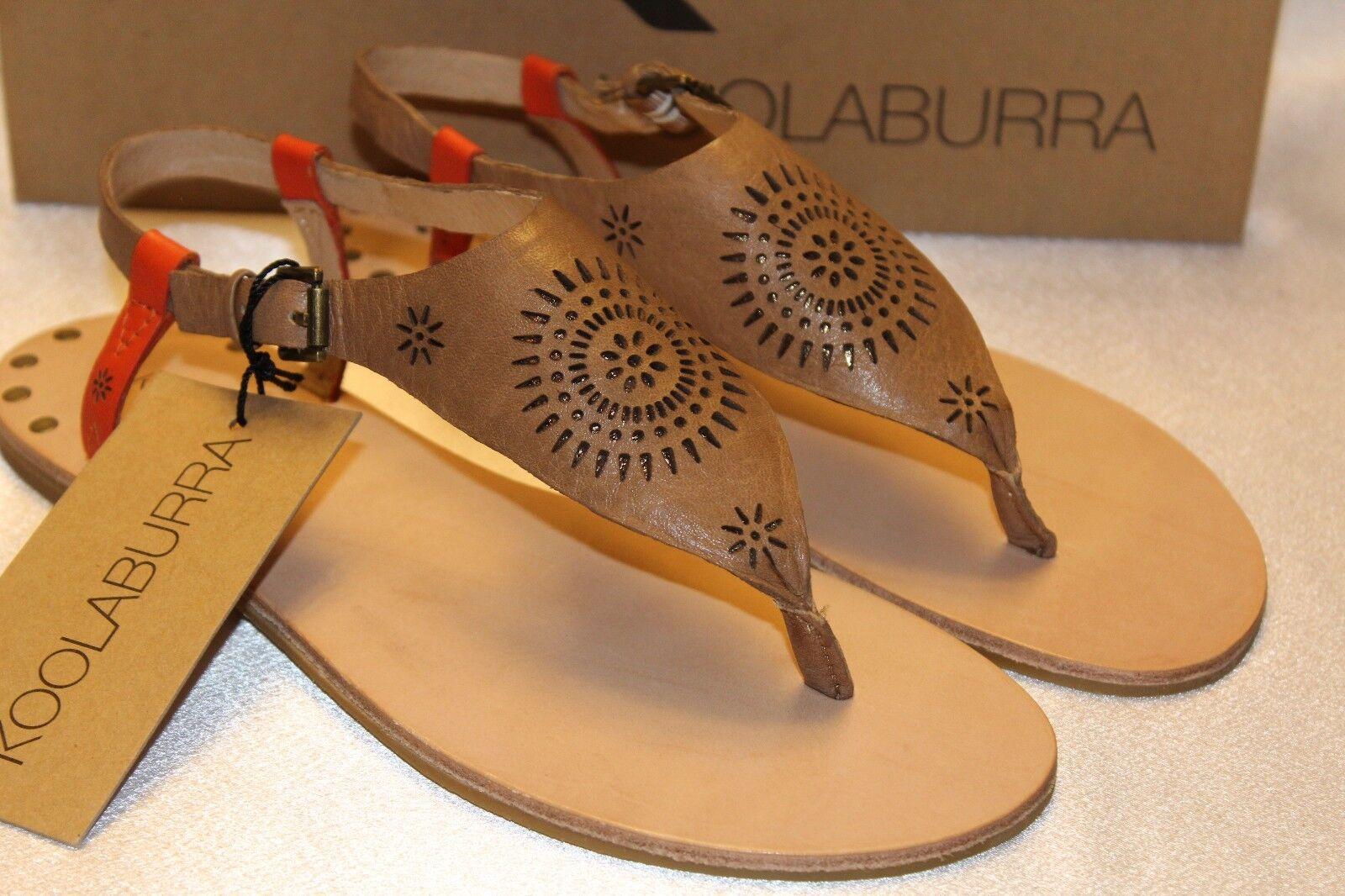NEW  KOOLABURRA Anthropologie Chestnut Leder Laser Cutout Thong Sandaleen 120