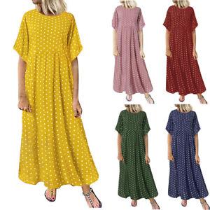 Fashion-Womens-Dress-O-Neck-Short-Sleeve-Dot-Printed-Dress-Casual-Long-Dress