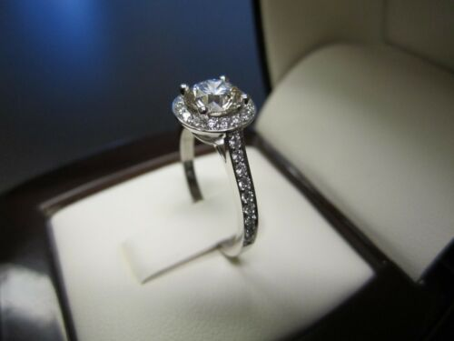 1.1ct Round Cut Halo Diamond Solitaire Engagement Ring 14ct White Gold Over