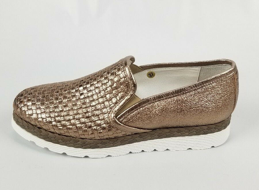 NAPOLEONI Woven Metallic pink gold Leather Platform Loafers Size 7 7 7  New d31e43