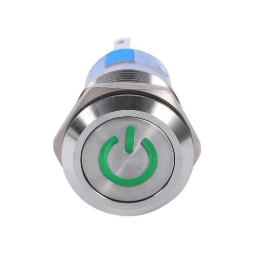 5Pin 19mm 12V LED Selbstsichernder Druckschalter Tastschalter Wasserdicht IP67
