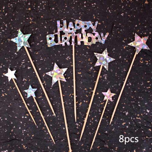 Shiny Glitter Flag Banner Cake Topper Baby Shower Wedding Birthday Party Decor