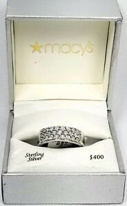 be806c325 Macy's Diamond Three-Row Band Ring 1/8 ct tw Sterling Silver 925 UD ...