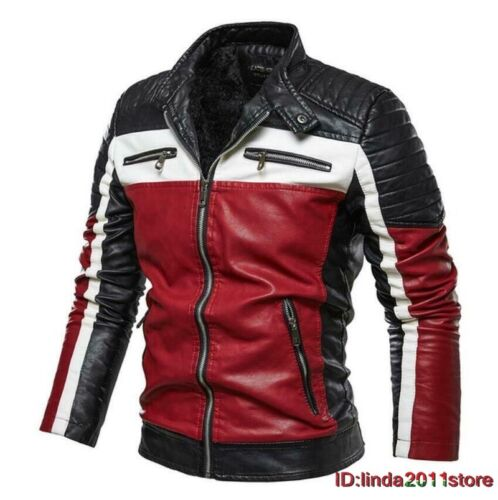 Men/'s Winter Fleece Lined Coat Leather Biker Jacket Motorcycle Casual Jackets