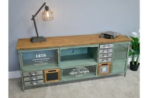 Industrial-Wooden-TV-Cabinet-With-Multi-Drawer-Retro-Style-Storage-Furniture
