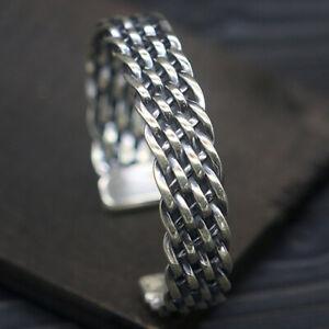 Sterling-925-Solid-Silver-Braided-Wide-Cuff-Men-039-s-Biker-Fashion-Bracelets