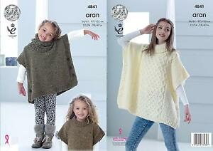 5556c7ef4524 King Cole 4841 Knitting Pattern Childs   Adult Poncho   Snood in ...
