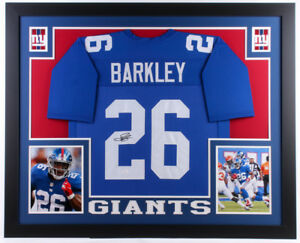 finest selection e641c e6aee Details about Saquon Barkley Signed New York Giants 35x43 Custom Framed  Blue Jersey (JSA COA)