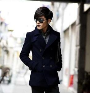 Mens-Lapel-Collar-Peacoat-Double-breasted-Slim-Y7-wool-blend-Trench-Coats-Jacket