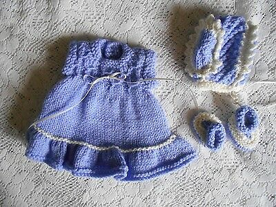 """Doll Clothes Handcrafted Vintage Style Lavender 3 pc set Dress fit 11""""-13"""""""