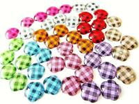 90 Gingham Plaid Flower Shape Acrylic Jewel 13mm Flatback/craft/color/bead B117