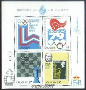 Uruguay 1979 Mi BL 42 ** Olimpiada Olympiade Olympics Chess Schach Echecs -  Dabrowa, Polska - Uruguay 1979 Mi BL 42 ** Olimpiada Olympiade Olympics Chess Schach Echecs -  Dabrowa, Polska