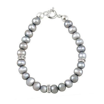 925er Silber Grau Süßwasser Kultivierte Perlen & CZ Baby Armband, 12.7cm