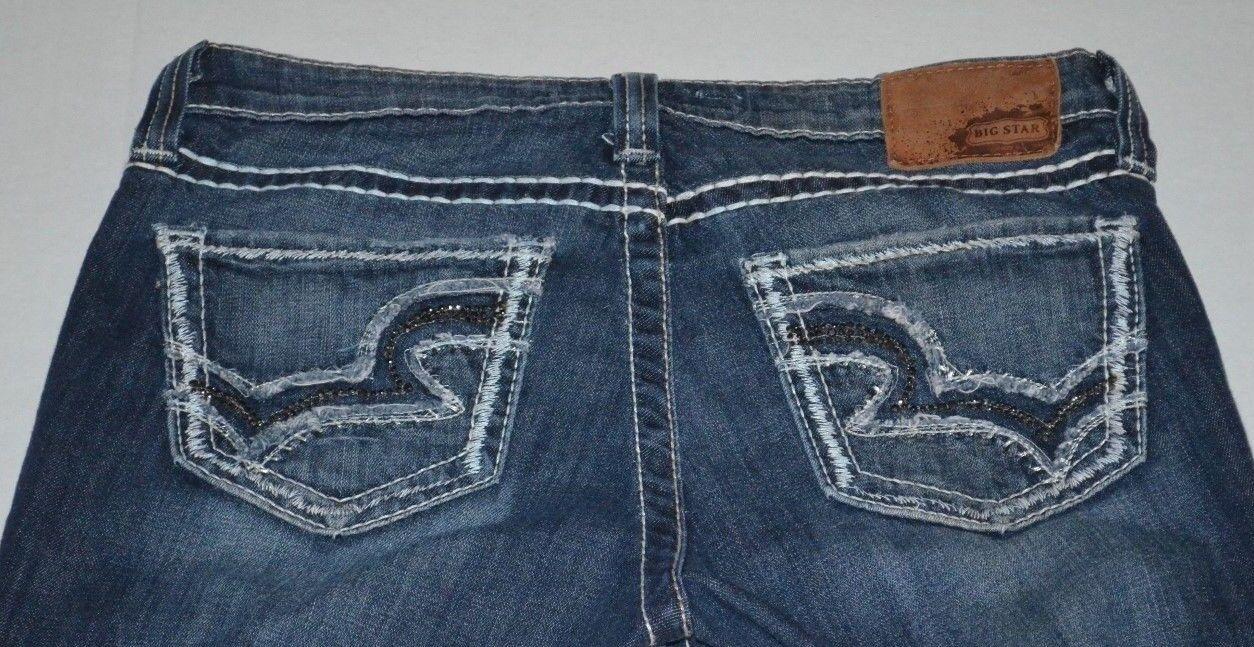 Big Star Maddie boot cut jeans 28 L 28L  Mid Rise Embelished Distressed