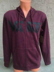 Vans-Mens-Full-Zip-Hoodie-Hooded-Maroon-Red-Sweatshirt-Size-Small-S