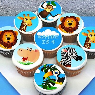 monkey round icing sheet personalised topper 12 cupcake toppers