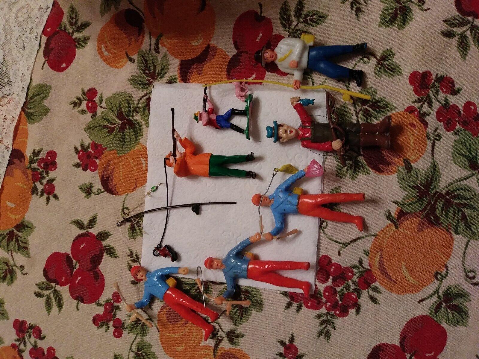 Figuras De Plástico Vintage, pescadores y cazadores, 7 figuras