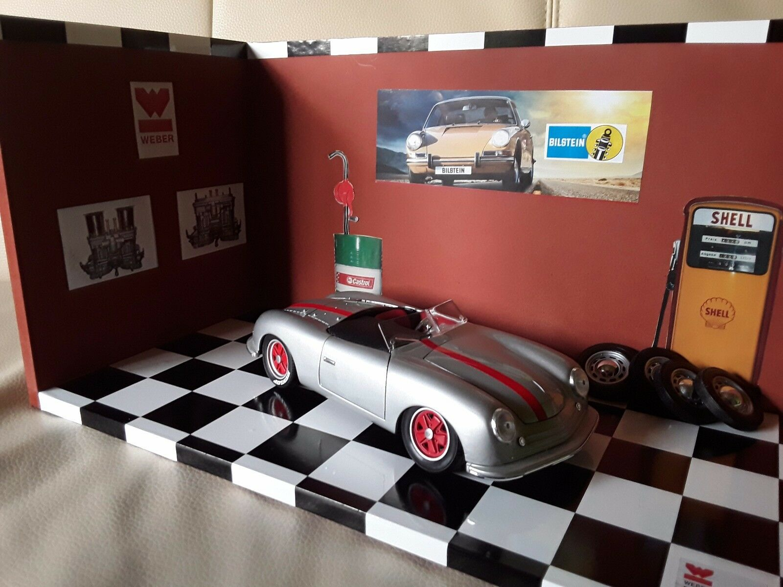 PORSCHE Diorama 356 Roadster 1 18 Leder MDF Holz Made in Germany Handmade