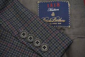 Brooks Brothers Madison Blue Gray Red Houndstooth Sport Coat Jacket Sz 42R