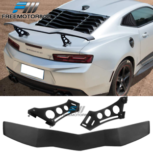 Universal Adjustable Lambo Style Trunk Spoiler Wing Black ABS Plastic