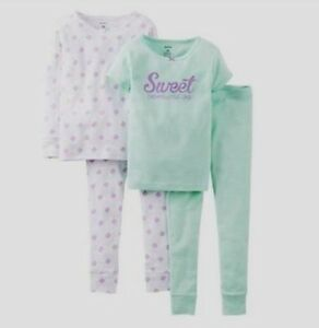 NEW CARTER'S GIRLS 4PC SWEET DREAMS LITTLE ONE COTTON PAJAMAS TOP PANTS SET  3T