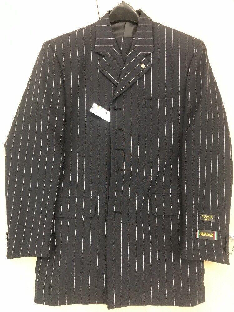 Luighi Balini Mens Suit Navy Pinstripe 44R 38 Waist Free Length Pleated Firenze