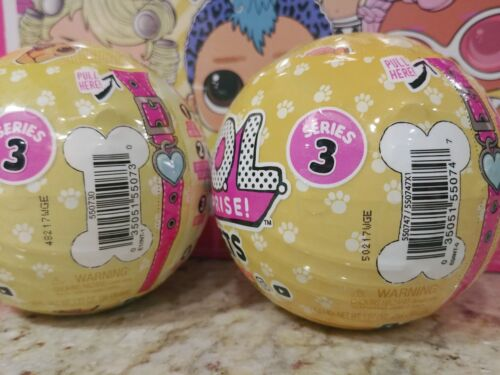 NEW Set of 2 LOL SURPRISE Balls Series 3 PETS Wave 1 /& 2 Dog /& Cat