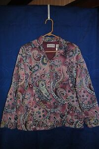 Womens-ALFRED-DUNNER-Multi-Color-Floral-Paisley-Design-Quilted-Jacket-Size-8