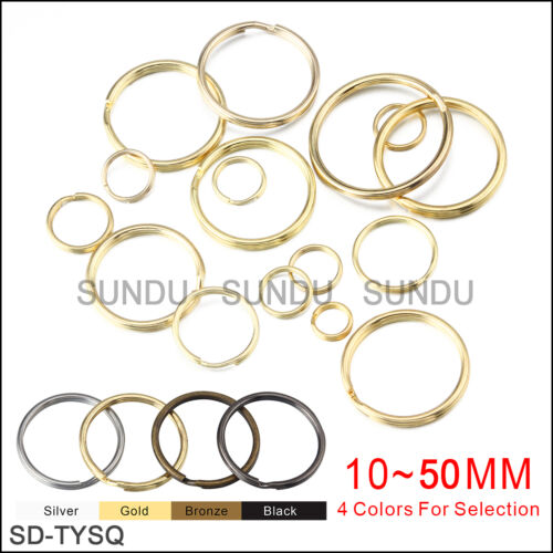 Wholesale 10~50mm Metal Split Key Ring  Keychain Ring With 4 Colors 10-1000pcs x