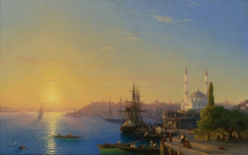 Ivan Aivazovsky VIEW OF CONSTANTINOPLE AND THE BOSPHORUS Giclee Canvas Print