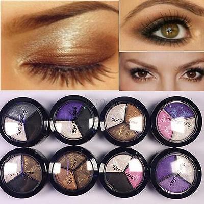 Smoky Cosmetic 3 Color Eyeshadow Powder Eye Shadow Palette Set Beauty Makeup C15