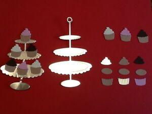 36-x-die-cut-cupcakes-unassembled-with-6-silver-stands-FREE-UK-POSTAGE