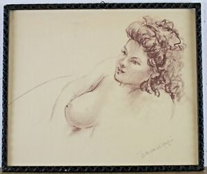 Signed Buck Von W ? Art Half Nude A Young Woman Beautiful And Charming