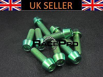 6x Titanium Tapered Bolt GR5 RacePro Green Allen Head M5 x 18mm x .8mm