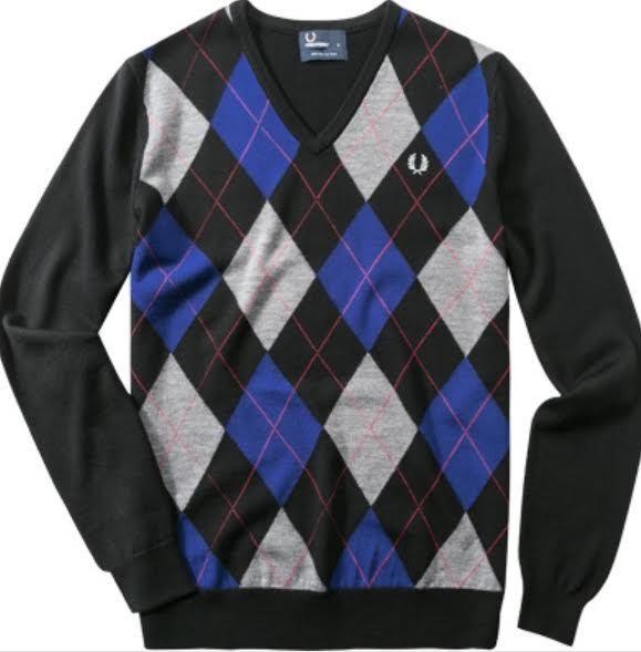 Frot Perry Argyle V-Neck Pullover Sweater Men's Sweatshirt K7257-236