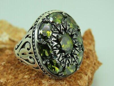 Turkish Handmade Jewelry 925 Sterling Silver Rainbow Stone Men/'s Ring Sz 11