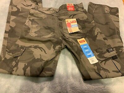12 Regular, Grey Camo Wrangler Boys Camo Cargo Pants Classic Twill