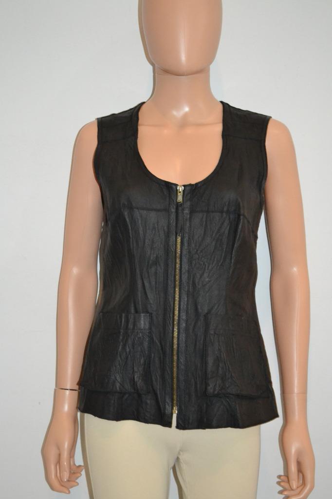 Illia schwarz Wrinkled Leather Zip Front Stretch Knit Back Sleeveless Top Größe 6