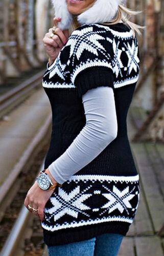 grigio Pullover Norvegia a Maniche Corte Taglia Unica 36-40 nero prugna